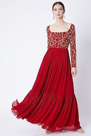 Red Jaal Embroidered Anarkali With Dupatta by Ease
