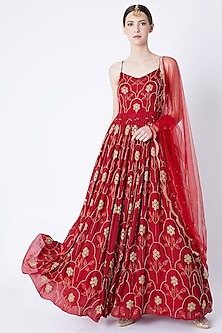 Red Embroidered Anarkali With Dupatta by Ease