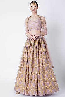 Lavender Embroidered Lehenga Set by Ease