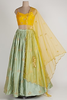 Pista Green & Mango Yellow Lehenga Set by Ease