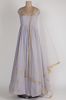 Lavender Anarkali With Net Dupatta by Ease