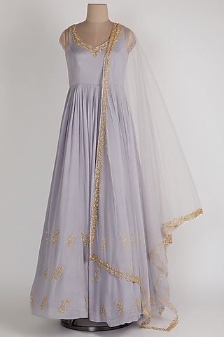 Lavender Anarkali With Net Dupatta by Ease