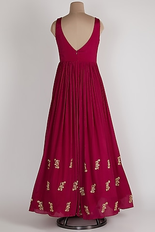 Magenta Anarkali With Net Dupatta by Ease