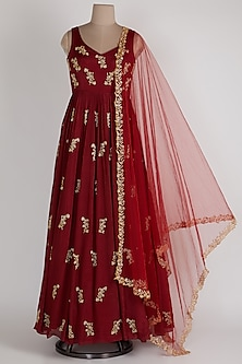 Red Anarkali With Net Dupatta by Ease