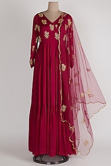 Magenta Gathered Sleeves Anarkali With Net Dupatta by Ease