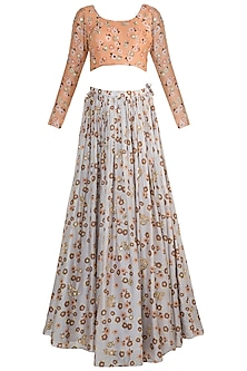 Light Lilac & Peach Embroidered Printed Lehenga Set by Ease