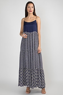 Blue Printed Tiered Dress by Ease