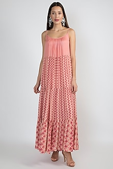 Pink Printed Tiered Dress by Ease