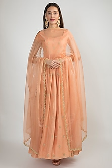Peach Pink Embroidered Anarkali With Dupatta by Ease
