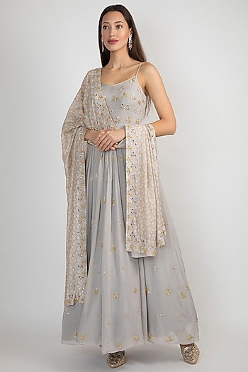 Light Lilac Embroidered Anarkali With Printed Dupatta by Ease