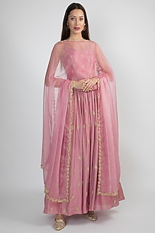 Light Purple Embroidered Anarkali With Dupatta by Ease