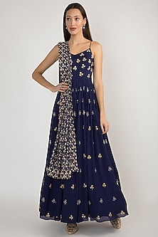 Blue Embroidered Anarkali With Printed Dupatta by Ease