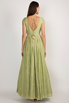 Pista Green Embroidered Anarkali With Dupatta by Ease