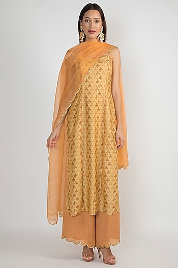 Yellow & Peach Embroidered Kurta Set by Ease