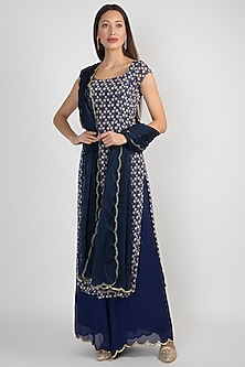 Blue Printed & Embroidered Kurta Set by Ease