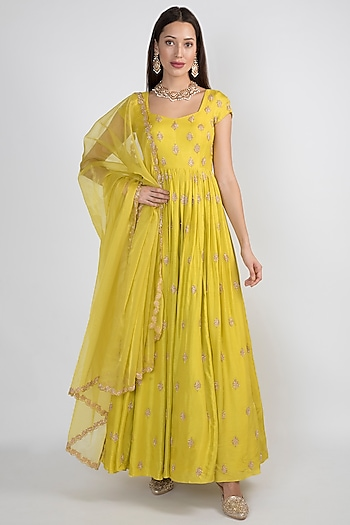 Lime Green Embroidered Anarkali With Dupatta by Ease