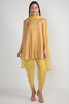 Yellow Printed & Embroidered Kalidar Kurta Set by Ease