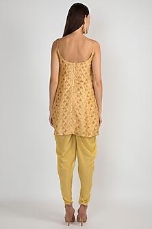 Yellow Printed & Embroidered Kalidar Kurta Set by Ease