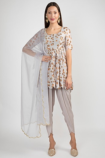 Light Lilac Printed & Embroidered Dhoti Kurta Set by Ease