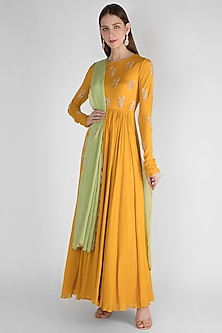 Mustard Yellow Embroidered Anarkali With Dupatta by Ease