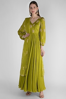 Olive Green Embroidered Anarkali With Dupatta by Ease