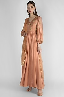 Mauve Pink Embroidered Anarkali With Dupatta by Ease