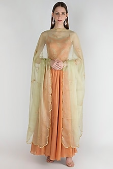 Peach Embroidered Anarkali With Dupatta by Ease