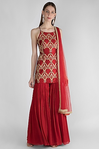 Red Embroidered Sharara Set by Ease