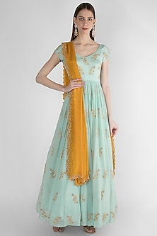 Sky Blue Embroidered Anarkali With Dupatta by Ease