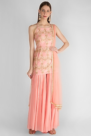 Blush Pink Embroidered Sharara Set by Ease