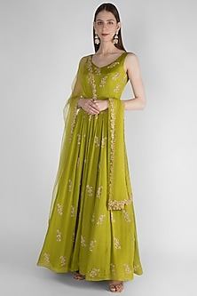 Olive Green Embroidered Anarkali With Net Dupatta by Ease