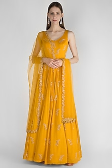 Mustard Yellow Embroidered Anarkali With Net Dupatta by Ease