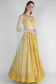 Lime Yellow Embroidered Lehenga Set by Ease