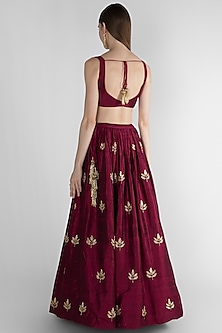 Wine Embroidered Lehenga Set by Ease