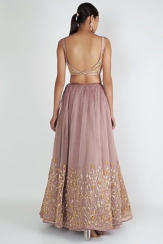 Lilac Embroidered Lehenga Set by Ease