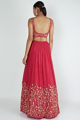 Rani Pink Embroidered Lehenga Set by Ease