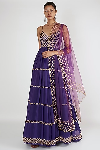 Purple Embroidered Anarkali With Dupatta by Ease