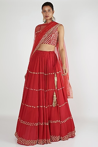 Red Embroidered Lehenga Set by Ease