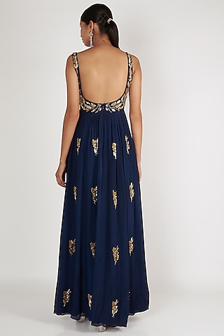 Navy Blue Embroidered Anarkali With Dupatta by Ease