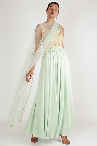Light Mint Blue Embroidered Anarkali With Dupatta by Ease