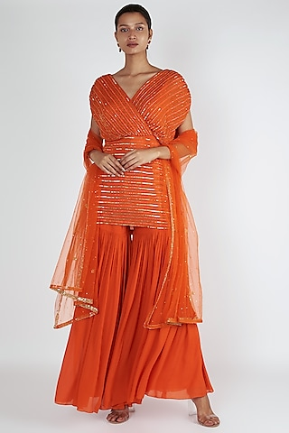 Orange Overlap Kurta With Sharara Set by Ease