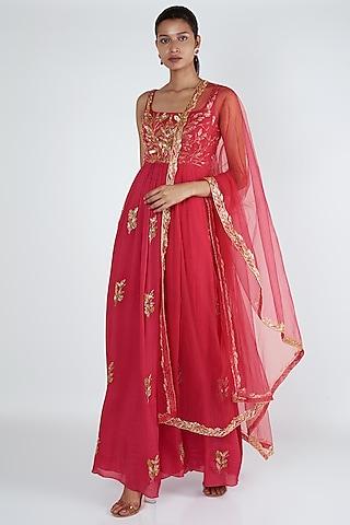Rani Pink Embroidered Anarkali Set by Ease
