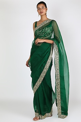 Green Embroidered Saree Set by Ease