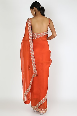 Orange Embroidered Saree Set by Ease
