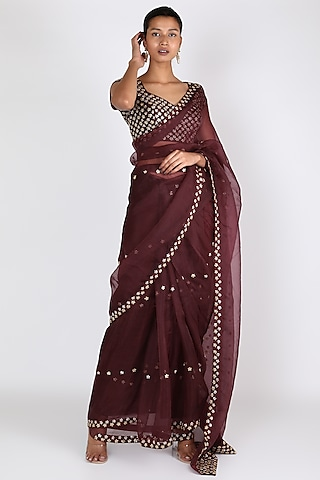 Wine Embroidered Saree Set by Ease