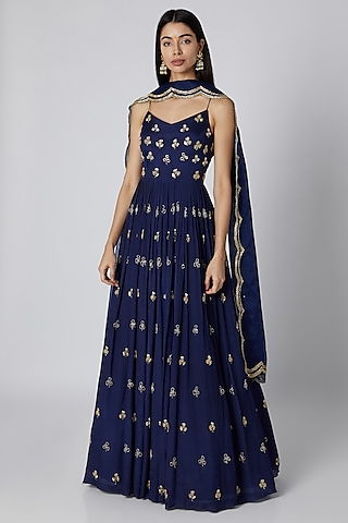 Blue Embroidered Anarkali With Dupatta by Ease