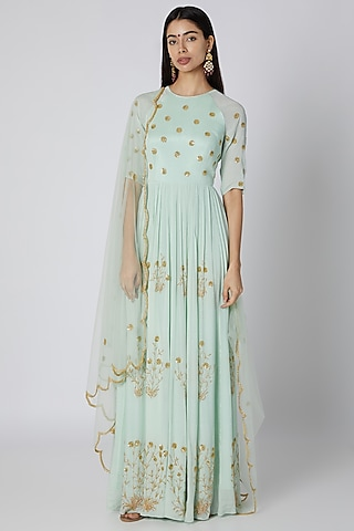 Mint Blue Embroidered Anarkali With Dupatta by Ease