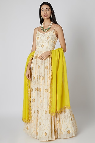 Off White Embroidered Anarkali With Dupatta by Ease