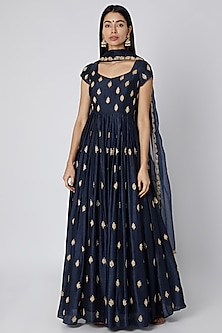 Blue Embellished Anarkali With Dupatta by Ease