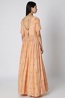 Salmon Pink Embellished Anarkali With Dupatta by Ease